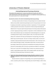 psy 435 week 1 assignment worksheet Psy 435 week 1 contributions to io psychology (paper and worksheet) 1docx description reviews (2) in this assignment, you will investigate the significant role of each founding father of industrial/organizational psychology, as well as come to understand the important role that industrial/organizational psychologists play as both researcher.