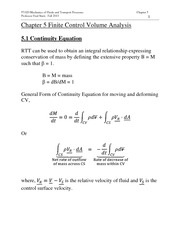 Chapter  Finite Control Volume Analysis
