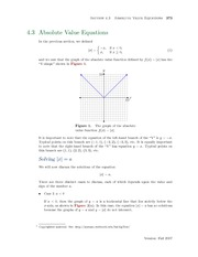 Section 3: Absolute Value Equations