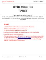 Lifetime Wellness Plan Template 1 Double Click Type Your Name