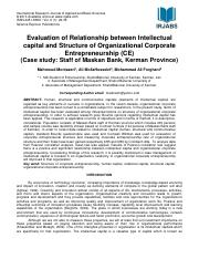 Human Capital Evaluation of Relationship between Intellectual capital and Structure of Organizationa