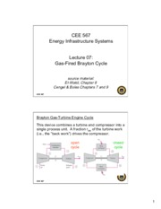 Lecture7 GasFired Brayton Cycle for Energy Infrastructual system