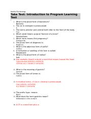 Medical Terminology Ch 1 Introduction to Program Learning Test .docx