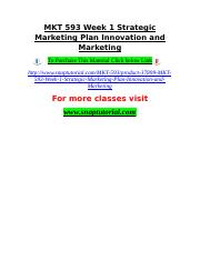 MKT 593 Week 1 Strategic Marketing Plan Innovation and Marketing.doc