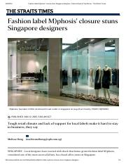 Fashion label M)phosis' closure stuns Singapore designers, Fashion News & Top Stories - The Straits