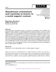 Attachment orientations and reactivity to humor in a social support context.pdf