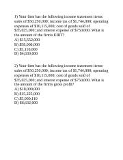 income statement questions