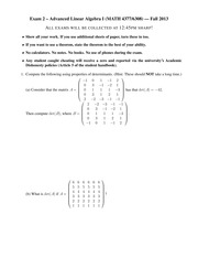 Exam 2 on Advanced Linear Algebra I Fall 2013