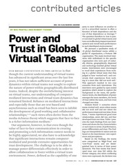 power and trust in global virtual teams article