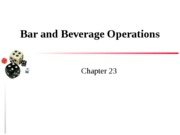 Chapter 23 Bar & Beverage Operations