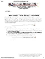 H102 Lecture 27_ The Almost Great Society_ The 1960s