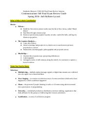 COM 160 Final Exam Study Guide Review