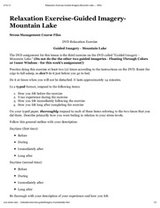 "Relaxation Exercise-Guided Imagery-Mountain Lake â€"" WSU"