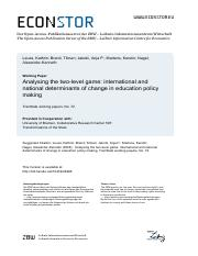 +Leuze Analyzing the two-level game - International and National Determinants of Change in Education