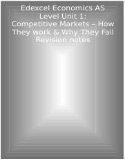 Edexcel Economics AS Unit 1 Competitive Markets - How they work and Why they Fail Revision notes.doc