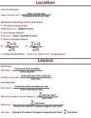 Location and Layout  formulas