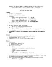 GEOG-1HB3-Fall 2010 - Mid-Term Study Guide