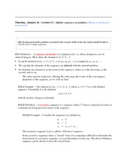 Lecture 13 (Sequences of Numbers)