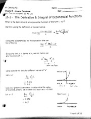 The Derivative and Integral of Exponential Functions