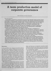 A team production model of corporate governance