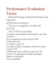 Performance Evaluation Factor