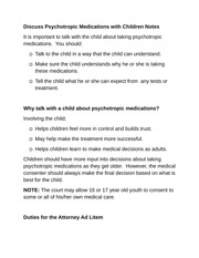 Discuss Psychotropic Medications with Children Notes
