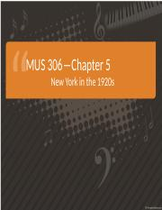 Chapter 5-New York in the 1920s