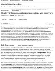 Quality interpersonal communication - An overview - ABI:INFORM Complete - ProQuest.pdf