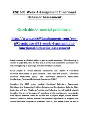 ESE 691 Week 4 Assignment Functional Behavior Assessment