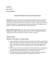 Observation of Chemical Reactions Lab 1 Report