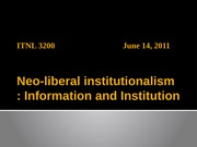 Lecture 6. Neoliberal Institutionalism