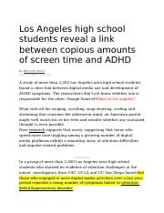 Los Angeles high school students reveal a link between copious amounts of screen time and ADHD.docx