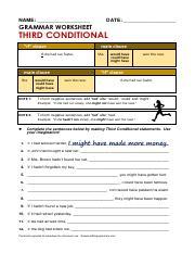 Second Cond Pdf Name Date Grammar Worksheet Second
