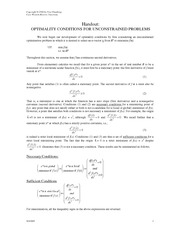 Handout 03 Optimality Conditions for Unconstrained Problems