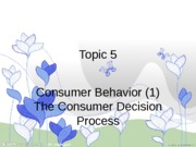 Topic5. Consumer Behavior (1) Consumer Decision Process