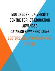 Lecture 19-Data Warehouse Design