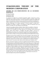 STAKEHOLDER THEORY OF THE MODERN CORPORATION