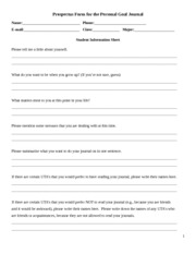 Student Information Sheet Prospectus Form for the Personal Goal Journal and checklist