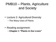 2- Agricultural Diversity The Many Uses of Plants