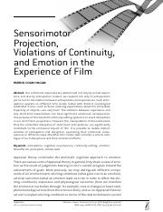 [19349696 - ] Sensorimotor Projection, Violations of Continuity, and Emotion in the Experience of Fi