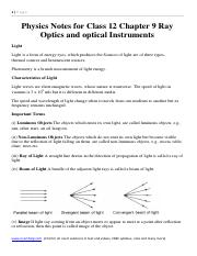 Physics Notes for Class 12 Chapter 9 Ray Optics and optical Instruments