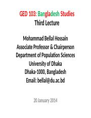 Bangladesh Studies_BUP_3rd Lecture_20 January 2014