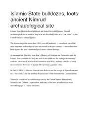 Islamic State bulldozes, loots ancient Nimrud archaeological site