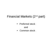 Financial Markets (2nd part)