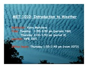Lecture on Introduction to Weather