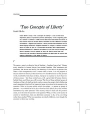 Two Concepts of Liberty Reading