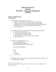 BUAD311illustrativeexam1solution