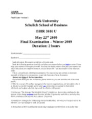 OBIR 3010 - Final Exam Practice [Winter 2009]