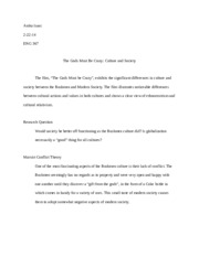 Culture and Society (Essay Outline)