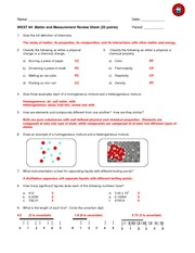 09 Review Sheet AK - Matter and Measurement